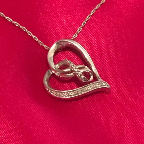 86c3bbdca Kay Jewelers Jewelry | 0925 Sterling Diamond Infinity Heart Pendant ...